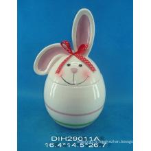 Pot de cèdre en céramique Bunny de Pâques (peint à la main)