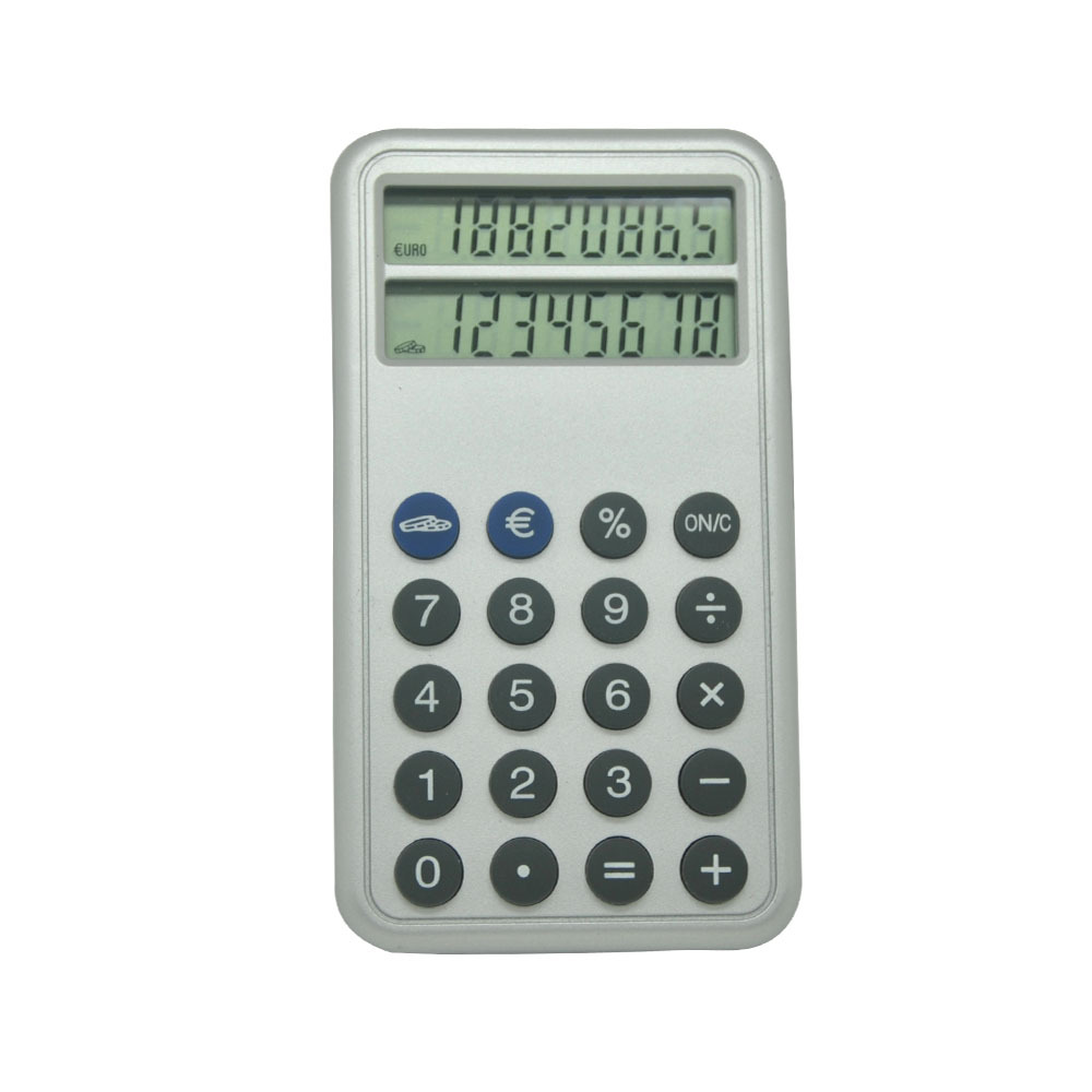 Double Screens Pocket Calculator with Euro Conversion