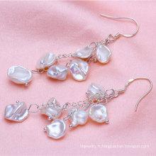 8-9mm Boucles d'oreilles perles Keshi