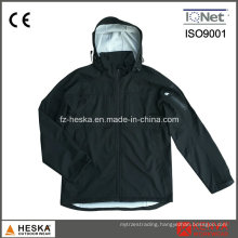 Men′ Swaterproof Hooded Black Softshell Jacket