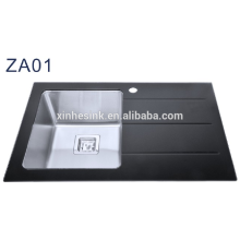Above counter single bowl tempered glass kitchen sink