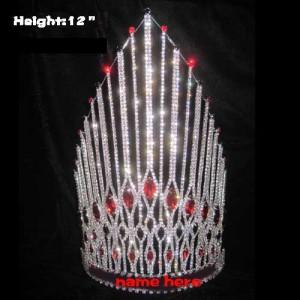 Corona de reina del certamen de cristal con diamante rojo