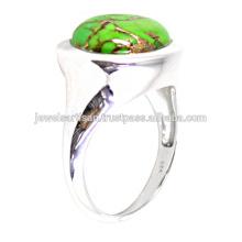 Lovely Green Kupfer Türkis Edelstein 925 Sterling Silber Ring