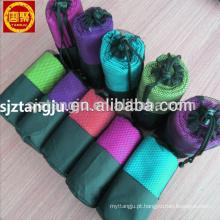 Venda quente personalizado camurça microfibra esporte toalha com saco de malha Venda quente personalizado camurça microfibra esporte toalha com bolsa de malha