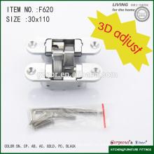 Bisagra ajustable de aleación de zinc 3D encubierta