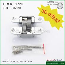 3D adjustable zinc alloy cross concealed hinge