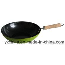 Utensilios de cocina Wok de acero al carbono de colores con utensilios de cocina de recubrimiento antiadherente