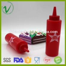 Cilindro de tamanho personalizado garrafa de plástico vermelho vazio de LDPE com impressão de logotipo