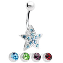 14ga Star Belly Button Ring with CZ Gems