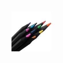 Bon marché noir en bois 12 pcs personnalisé logo couleur crayons
