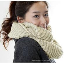 100% акриловый белый шарф из трикотажной шеи
