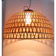 Lampe pendante d'intérieur en rotin naturel de style campagnard