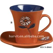 Vitrage et décalque divers en grès rond de haute qualité Café / tasse à thé et soucoupe