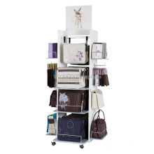 New Fashion Store Advertising Free Standing Wood Movable 4-Tier Hand Bag Leather Wallet Display Rack