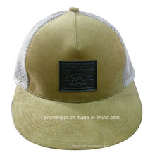 Customized Corduroy Flat Brim Trucker Cap with PVC Rubber Logo