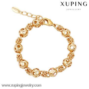 73945 Xuping Wholesale 18k chapado en oro pulsera, encantos de cuentas huecas Generous Woman Bracelet