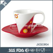 Cappuccino Porzellan ovale Kaffeetasse und Untertasse, neues Design Tasse Set, kleine Tasse gesetzt