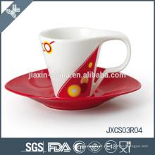 Xícara de café oval de porcelana cappuccino e pires, novo conjunto de copo de design, conjunto pequeno copo