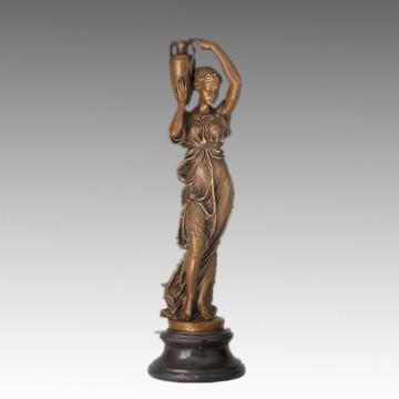 Féminin Classique Figure Petit Bronze Sculpture Fille Décoration En Laiton Statue TPE-911