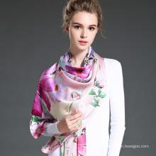 Impressão digital de lenço de seda longa para mulheres Meninas