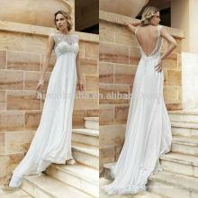 Sexy Robe de mariée en mousseline de soie 2014 Hot Sale Jewel Neck Cap Sleeve Backless Long Beach Robe de mariée avec lacets Applique NB0807