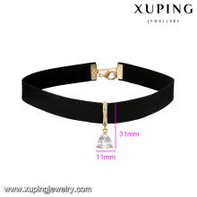 43704 xuping moda collar de cuero más amplio forma de triángulo noble collar colgante de joyería de China al por mayor