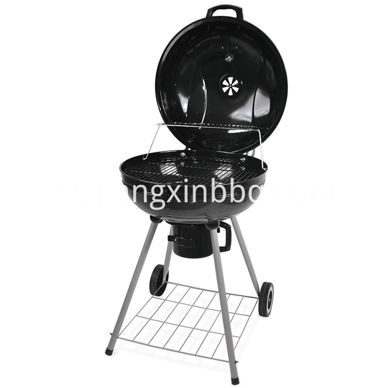 22 5 Inch Kettle Glossy Porcelain Charcoal Grill Opening View
