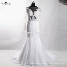 RSW924 сексуальная прозрачный спинки с длинным рукавом кружева свадебные платья 2016 Русалка
