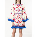 Oversized Multicolored Tassel Trim Flared Long Sleeve Summer Mini Dress Manufacture Wholesale Fashion Women Apparel (TA0008D)