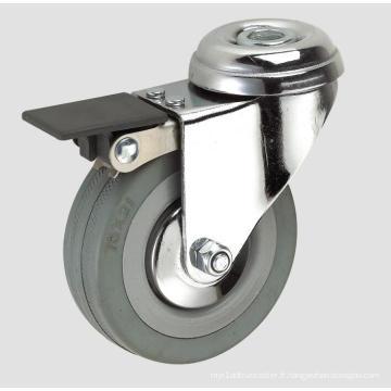Roulette d'industrie en caoutchouc gris 3 pouces avec frein complet