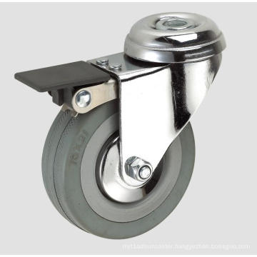 3inch Gray Rubber Industry Caster with Whole Brake