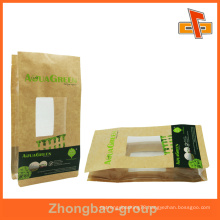 custom plastic square bottom flat bottom bag with window for snack