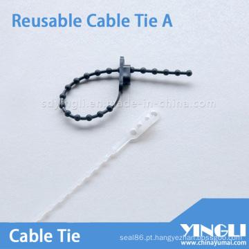 Braçadeira de cabo reutilizável tipo talão