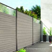 WPC Wood Plastic Composite Fence Gates Post 3D Wood Grain Embossing Waterproof Mesh Decorative Outdoor Privacy Composite Fence