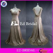 ED Bridal Fashion Preço de atacado Long Cowl Low Back Heavy Sequined Vestido de dama de honra 2017