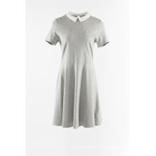 Robe en maille grise avec col Claudine