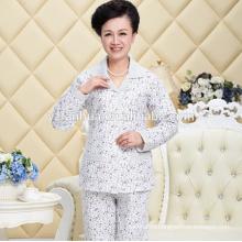 Печатные теплого хлопка женщин для пижамы костюм с длинными рукавами