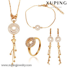 63102- Xuping Italian 4-piece jewelry designers brass jewelry set 18k