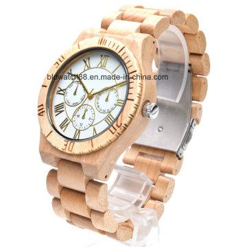 Meilleur chronographe en bois Montre multifonctionnelle en bois Chrono pour homme