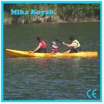 3 Person Kunststoff Fischerboot zum Verkauf Sitzen auf der Oberseite Meer Kajak Kanu