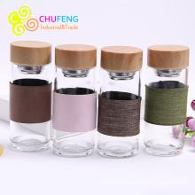 Botella de cristal de agua botella de infusor de té Botella de coctelera de té cristal botella de té con manga tapa de grano de bambú