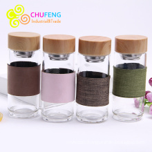Glass Water Bottle Tea Infuser Bottle Tea Shaker Bottle Tea Glass With Sleeve Bamboo Grain Lid