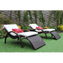 Modern Design poly rattan sun lounger for garden outdoor furniture