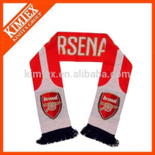 Knitted Acrylic Soccer Scarf with Tassel