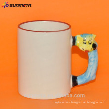 promotional ceramic Mug for sublimation with animal hand made in china