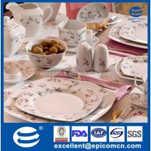 luxury fine bone china square Turkish porcelain dinnerware sets with royal, Elegant design for 4 person, with flowers coated