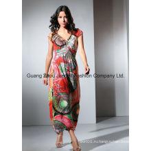 Женщины вязать плиссированные медальон печати Maxi платье