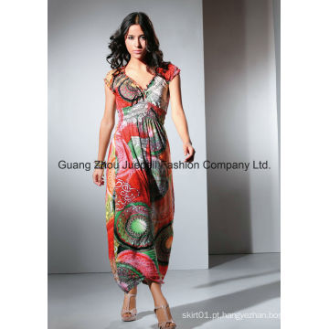Mulheres Knit plissado medalhão Print Maxi Dress