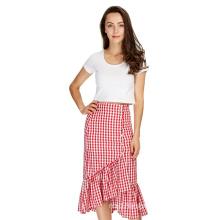 Women Lace Skirt Plaid Skirts Lining Elastic Waist Ladies Fashion Casual Skirt