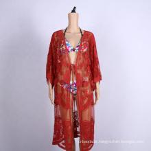 roupa de proteção solar de renda bordada vestido de praia sexy
